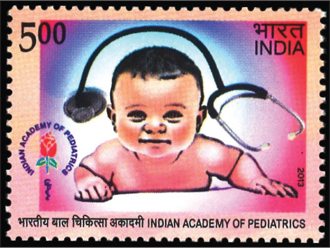 One of two 2013 stamps from India related to pediatrics; this one honoring the Indian Academy of Pediatrics, which was established in 1962.Images courtesy of Stanford T. Shulman, MD.