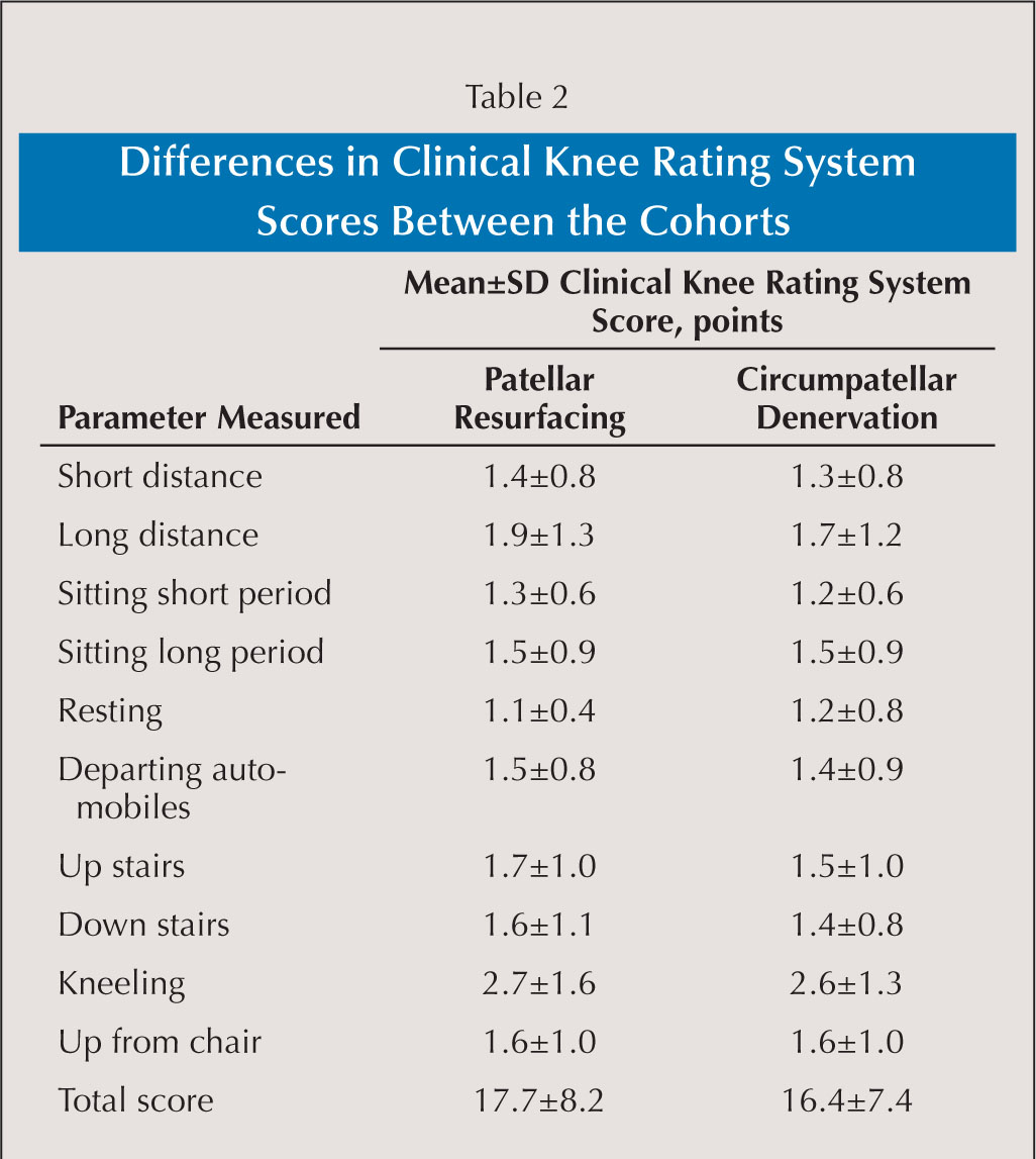 Differences in Clinical Knee Rating System Scores Between the Cohorts