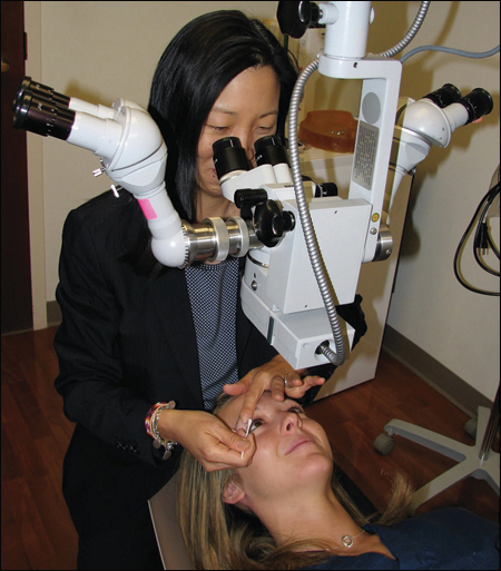 Meibomian gland expression is performed after the light treatment.