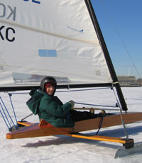 Dr. Topilow iceboating on the Navesink River in New Jersey